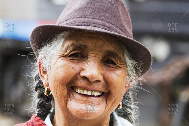 August 28, 2014: Elderly Woman, Alausi, Chimborazo, Ecuador