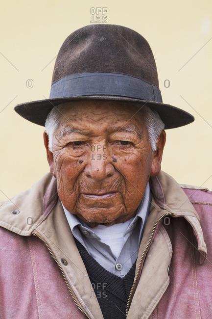 August 26, 2014: Elderly Ecuadorian Man, Machachi Railway Station, Machachi, Pichincha, Ecuador