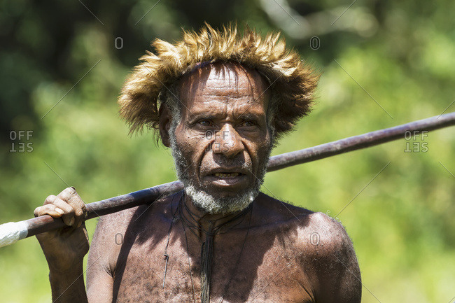 October 4, 2013: Dani Man Wearing An Elaborate Headdress Of Bird Of Paradise Or Cassowary Feathers, Obia Village, Baliem Valley, Central Highlands Of Western New Guinea, Papua, Indonesia