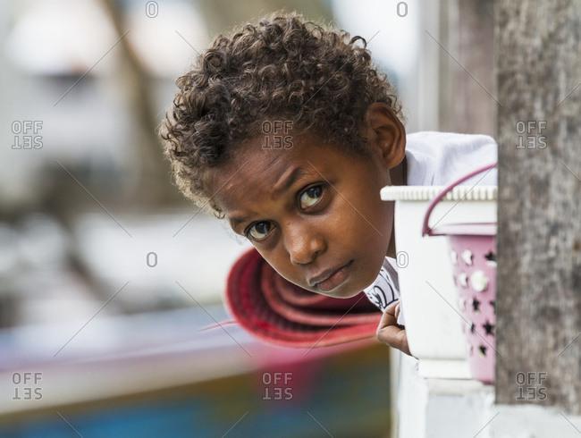 October 5, 2013: Boy, Pulao Asei, Island In Lake Sentani, Papua, Indonesia