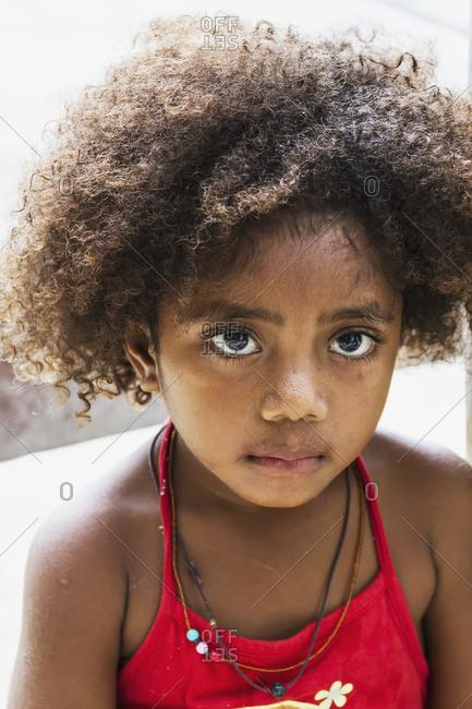 October 5, 2013: Sentani Girl, Pulao Asei, Island In Lake Sentani, Papua, Indonesia