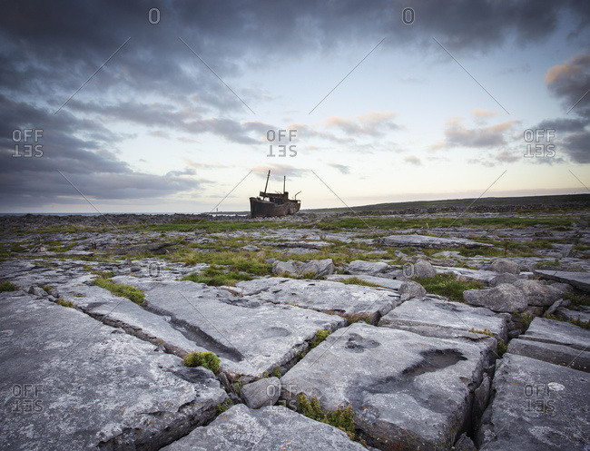 September 20, 2013: The Shipwreck, The Plassy, On The Limestone Rock On The Aran Island Of Inis Oirr, Galway Bay; Ireland