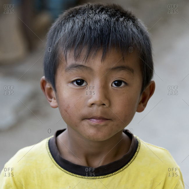 October 19, 2014: Portrait Of A Young Boy With A Dirty Face; Paro, Bhutan