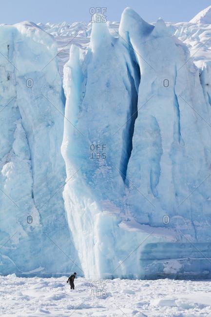 March 23, 2014: Cross Country Skier At Portage Glacier. South-central Alaska. Winter.