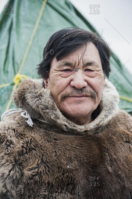 November 2, 2011: Portrait Of Senior Inuit Man; Churchill, Manitoba, Canada