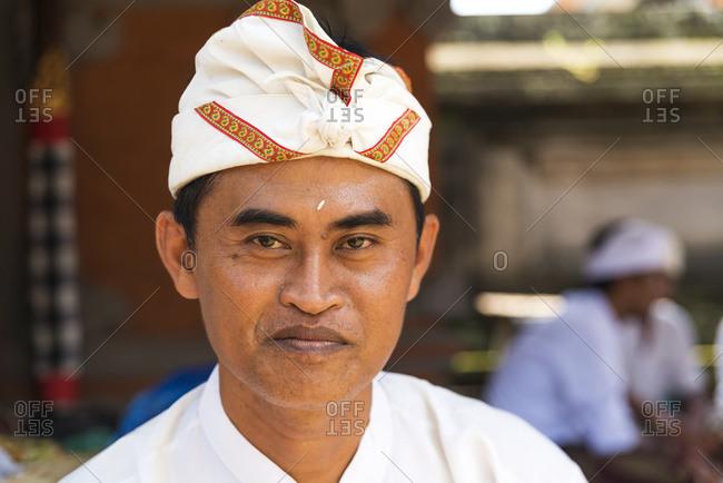 February 16, 2016: Portrait Of A Man At A Hindu Temple; Bali Island, Indonesia