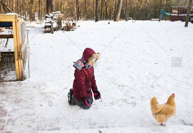 Girl plays with pet chicken on a snowy day