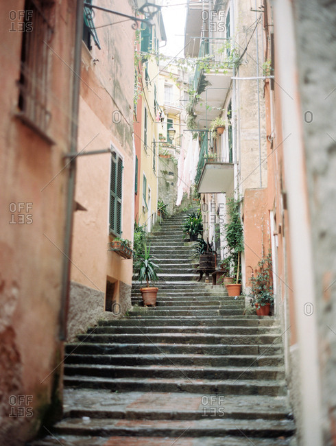 Steps in alley  of a residential neighborhood