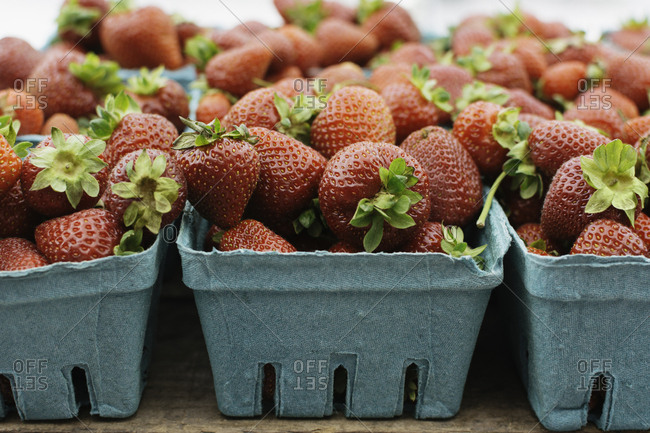 Pint containers filled with fresh whole strawberries at market