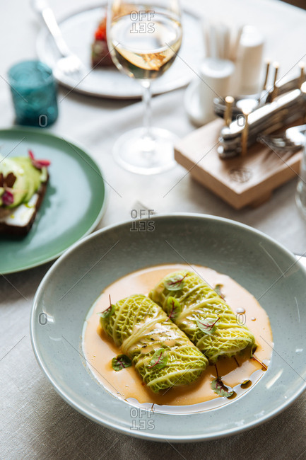 Savoy cabbage roll with wine