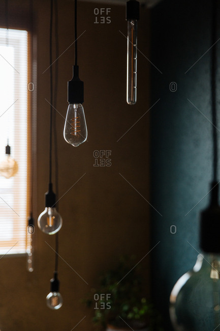 Several hanging lights with Edison bulbs