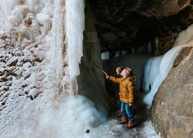Boys exploring Starved Rock State Park