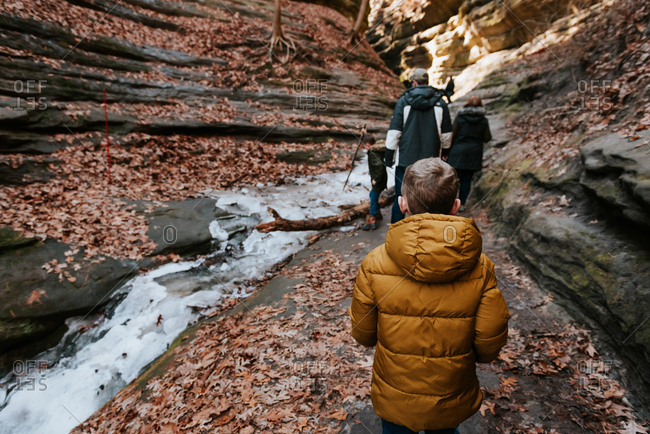 Boy walking on trail at Starved Rock State Park