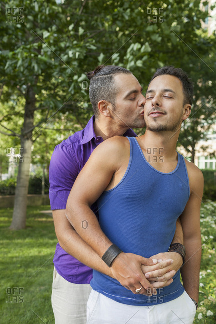 Gay couple in a park together