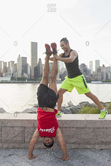 Gay couple working out together