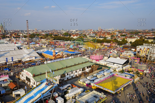 September 25, 2017: Germany- Bavaria- Munich- View of Oktoberfest fair on Theresienwiese