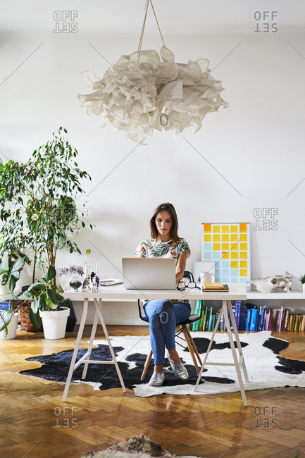 Young woman at home using laptop on desk