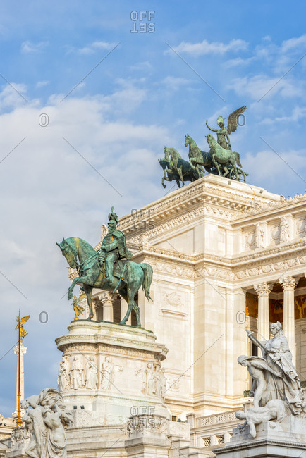 Italy- Rome- equestrian statue in front of Monumento a Vittorio Emanuele II