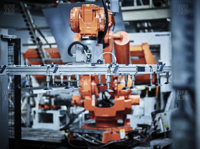 Industrial robot arm used in metalworking