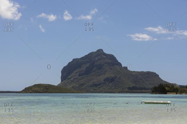 Mauritius- South Coast- Indian Ocean- Le Morne with Mountain Le Morne Brabant- boat