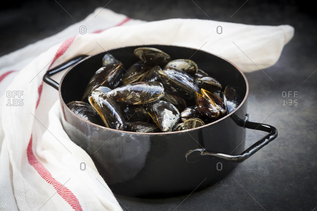Organic blue mussels in cooking pot