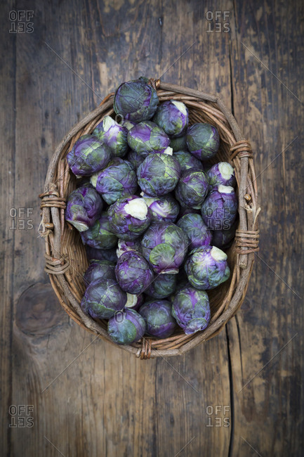 Purple brussels sprouts in basket