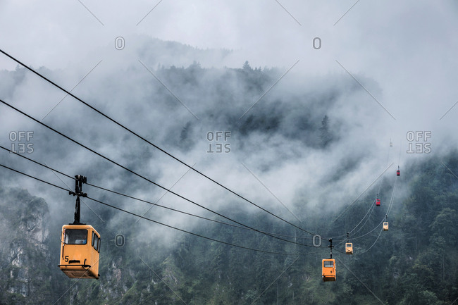 Austria- Salzburg State- St. Gilgen- Zwoelferhorn Cable Car- fog