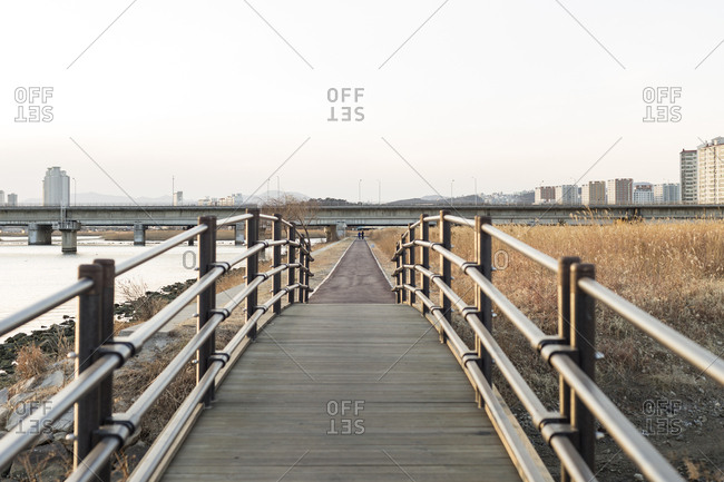 Bridge and pathway through urban nature park