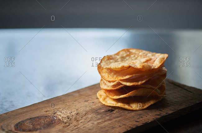 Stack of homemade tostado chips