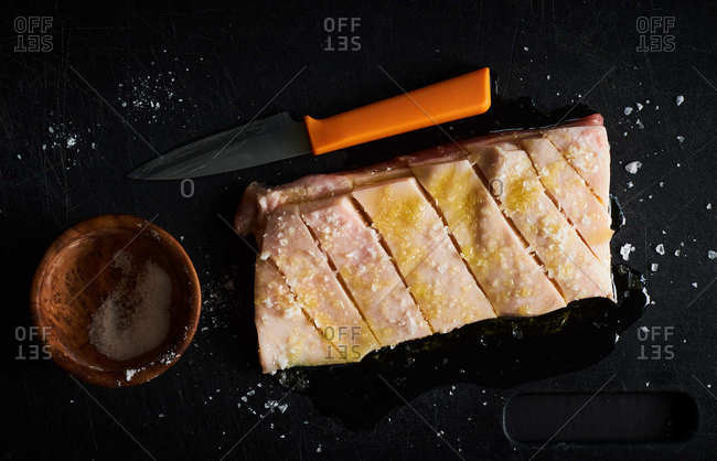 Preparing pork belly