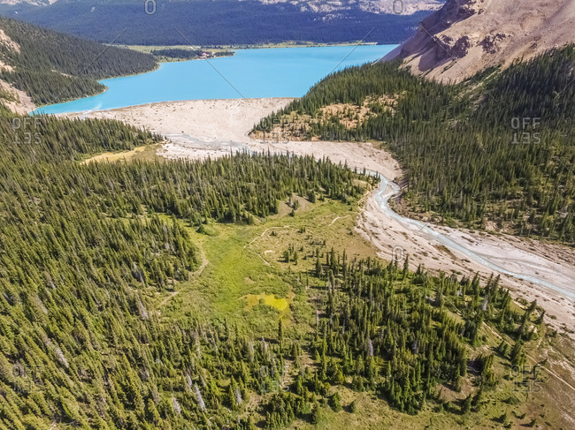 Aerial view of a blue Bow Lake in Alberta, Canada.