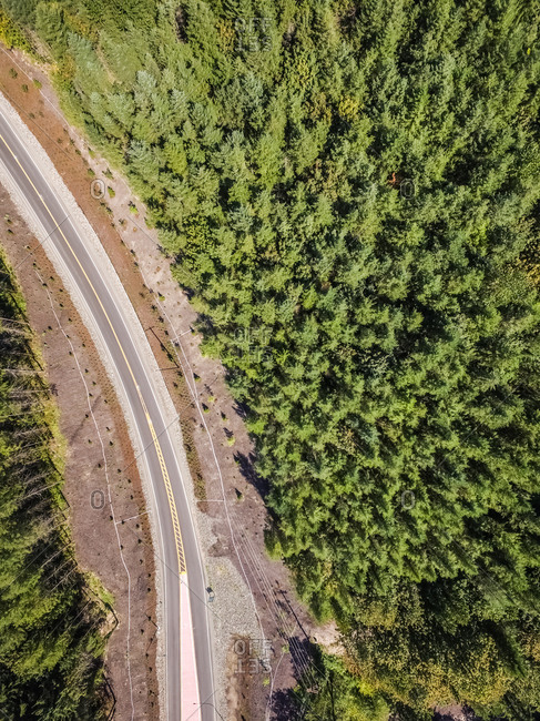Aerial view of an empty road surrounded by forest in USA.