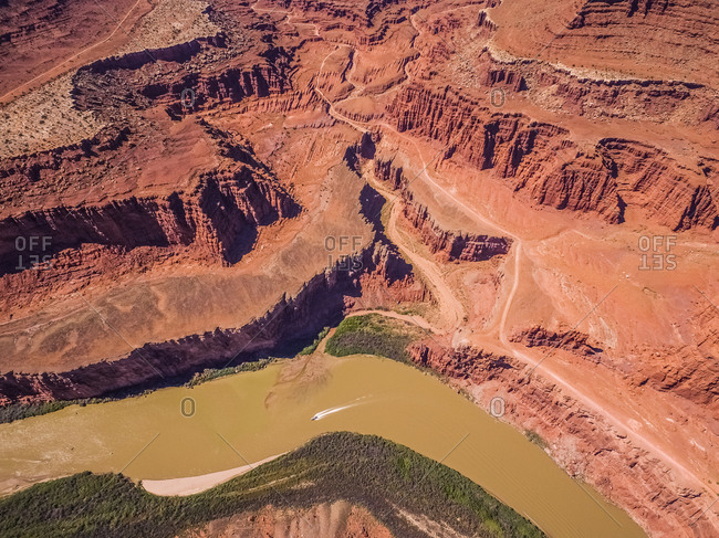 Aerial view of colorado river and canyons in Utah, USA.