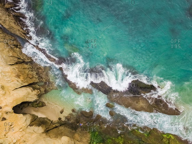 Aerial view of the rocky coast in Laguna Beach, California, USA.