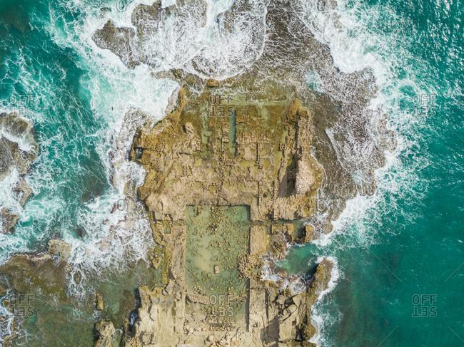 Aerial view of Caesarea ruins in the sea in Tel-Aviv, Israel.