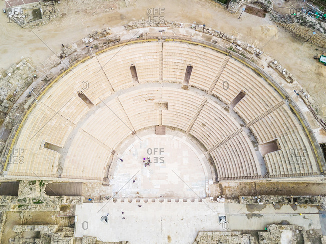 Aerial view of the Roman Amphitheater in Caesarea, Israel.