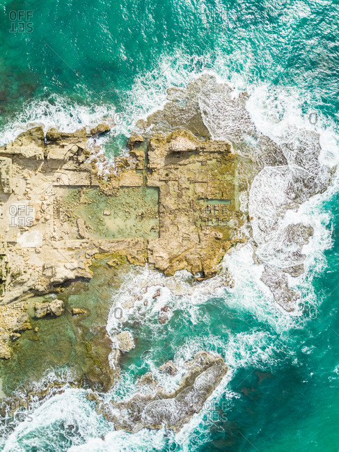 Aerial view of Caesarea ruins in the sea in Tel-Aviv, Israel.