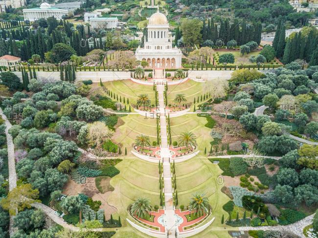Aerial view of Baha'i Holy Gardens in Haifa, Israel