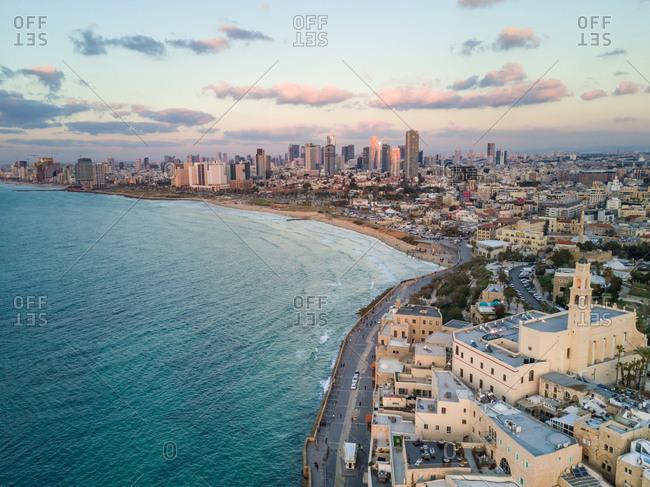 Aerial view of St Peter's church on Tel-Aviv coast, Israel.