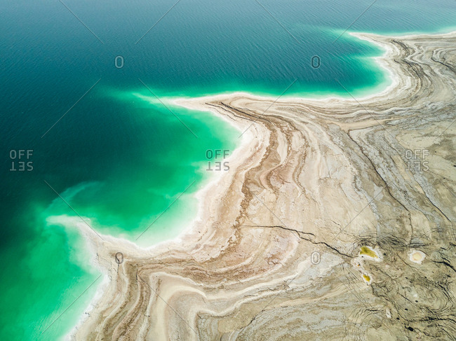 Aerial view of the salty Dead Sea.
