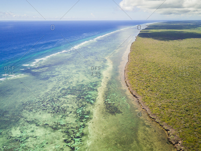 Aerial view of Mafia island coast in Tanzania.