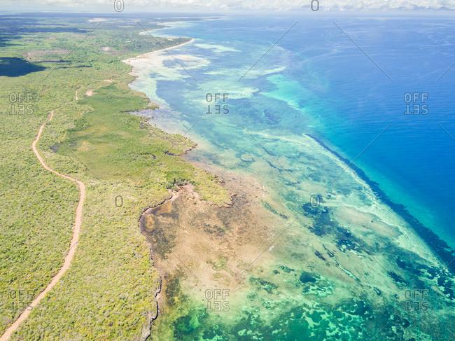 Aerial view of Mafia island coastline in Tanzania.