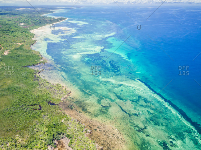 Aerial view of Mafia island coastline in Tanzania.