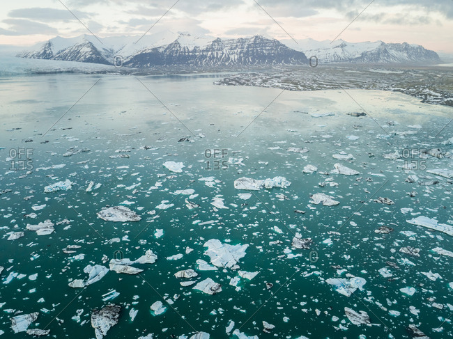 Aerial view of Jokulsarlon Glacier Lagoon in Iceland.