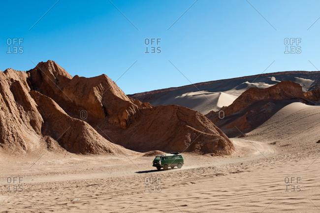 Truck on Valle de la Luna (Valley of the Moon), Atacama Desert, Chile