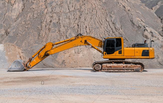 Mechanical digger at gravel mine, Pak Chong, Nakhon Ratchasima, Thailand, Asia