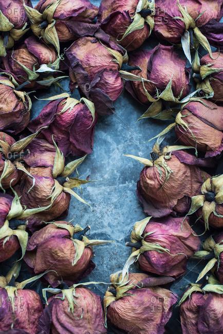Dried rose heads arrangement