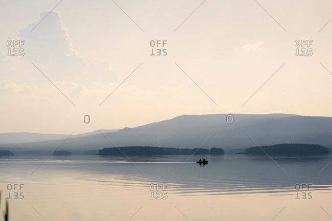 Boat on lake, Ural, Sverdlovsk, Russia