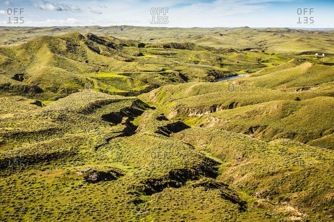 View of uneven landscape, Montana, US