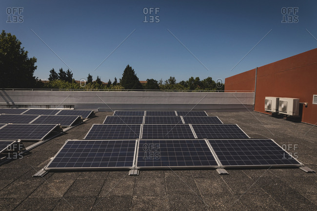 Solar panels at solar station on a sunny day